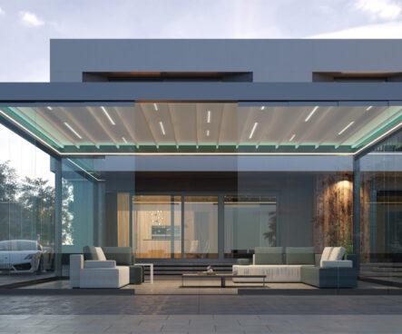 nowoczesne zadaszenie zotwieranym dachem