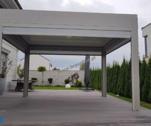 nowoczesna pergola aluminiowa z dachem żaluzjowym, nowoczesne zadaszenie tarasu, screeny, rolety boczne