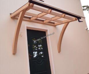 zadaszenie wejścia, zadaszenie drzwi wejściowych, zadaszenie drzwi z drewna, ekskluzywne zadaszenie wejścia, zadaszenie drzwi z poliwęglanu